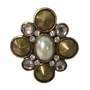 Vintage Pearl & Rhinestone Stretch Ring